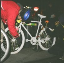 Image of Franco Scorcia's ghost bike dedication, December 12, 2007
